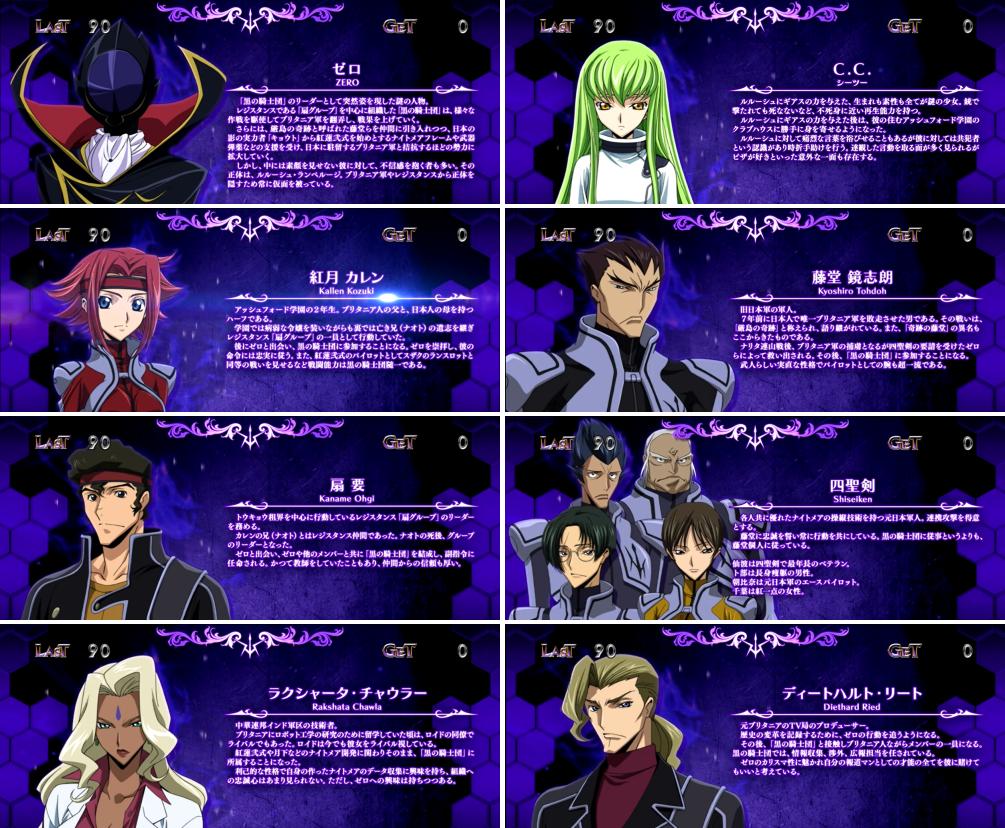 パチスロコードギアス反逆のルルーシュ3のRB中のキャラ紹介「紫背景(黒の騎士団キャラ)」画面