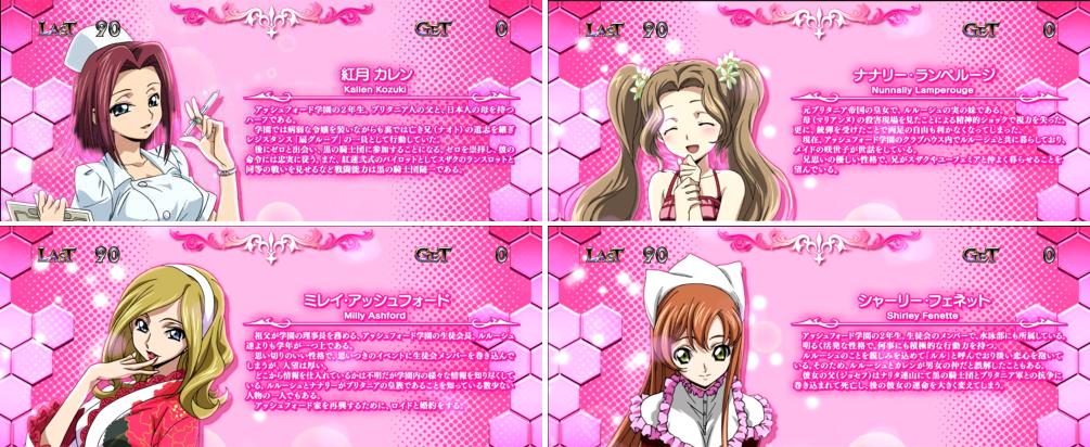 パチスロコードギアス反逆のルルーシュ3のRB中のキャラ紹介「ピンク背景(コスプレキャラ)」画面