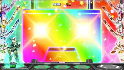 パチスロ フレームアームズ・ガールの充電くんレインボー点灯画面