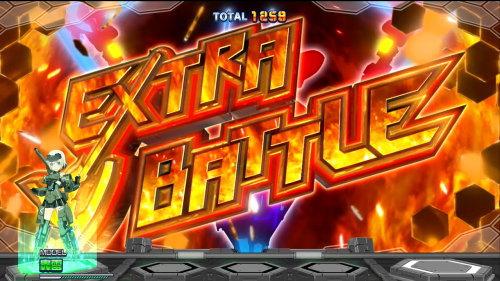 パチスロ フレームアームズ・ガールのスペシャルバトル「EXTRA BATTLE」突入画面
