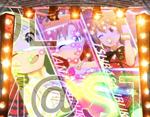 パチスロ アイドルマスター ミリオンライブ!のアンコールモード(U.Oステージ背景)の画面