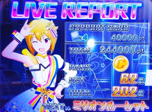 パチスロ アイドルマスター ミリオンライブ!のライブリザルト(ボーナス終了)ランクCの画面