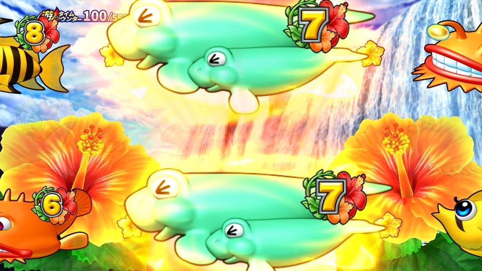 パチンコPギンギラパラダイス 夢幻カーニバルHCAの滝変化リーチ画像