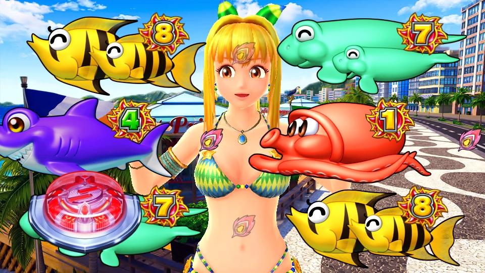 パチンコPギンギラパラダイス 夢幻カーニバルHTKのブラジルマリンちゃんリーチ画像