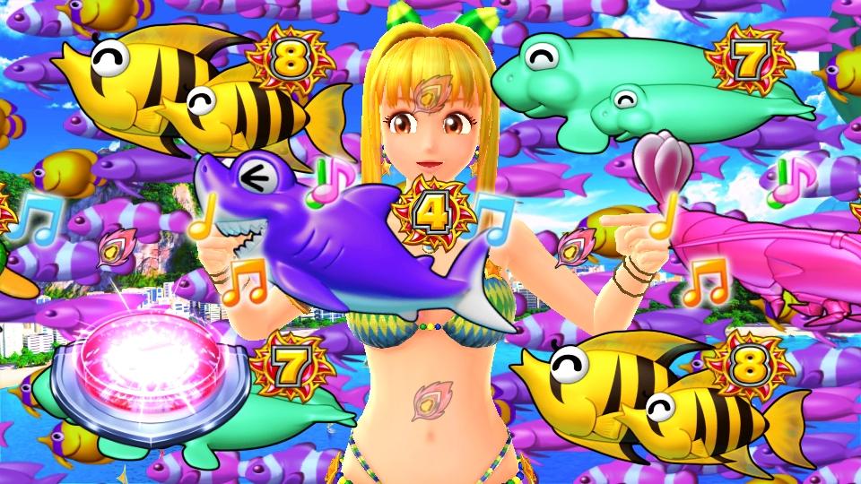パチンコPギンギラパラダイス 夢幻カーニバルHTKのスーパーリーチボタン画像