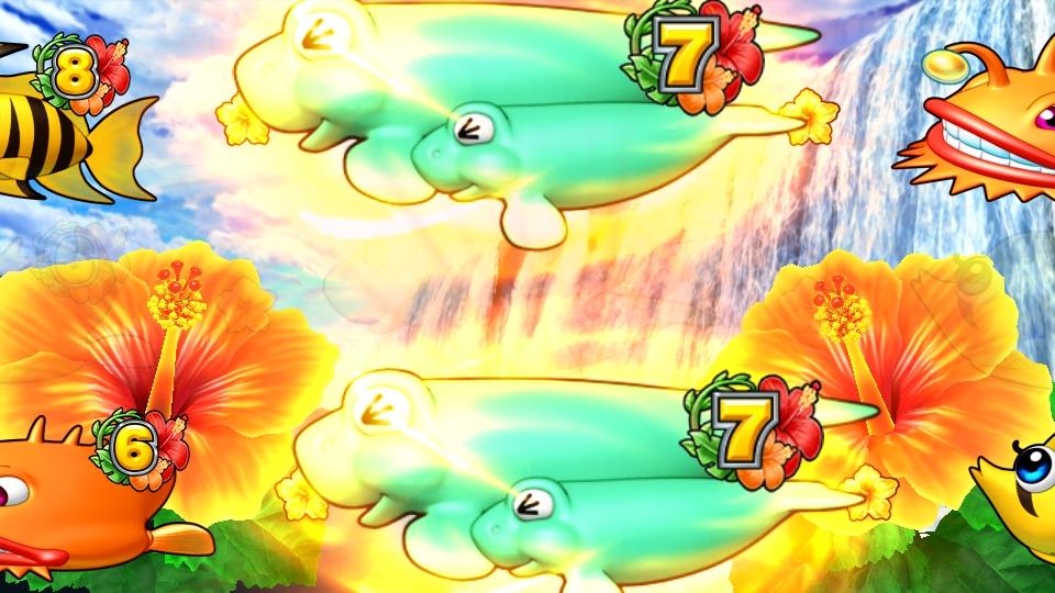 パチンコPギンギラパラダイス 夢幻カーニバルHTKの滝変化リーチ画像