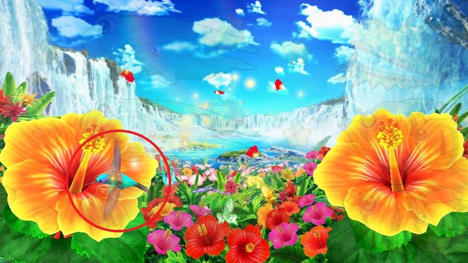パチンコPギンギラパラダイス 夢幻カーニバルHTKの告知鳥蜜画像