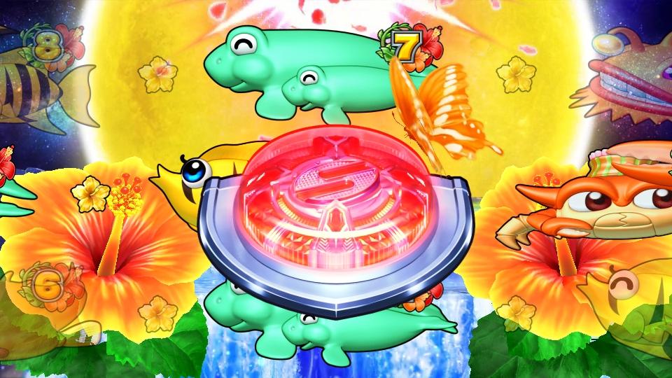 パチンコPギンギラパラダイス 夢幻カーニバルHCAの神秘の滝ボタン画像