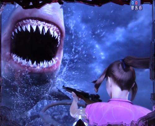 パチンコP JAWS3 LIGHTのJAWS襲来リーチ画像
