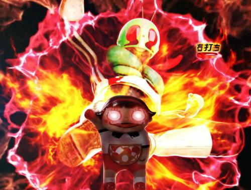パチンコぱちんこ 仮面ライダー GO-ON LIGHTのレジェンドバトルリーチ玉ちゃん登場画像