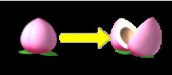 パチンコPモモキュンソードMCの桃が割れる画像