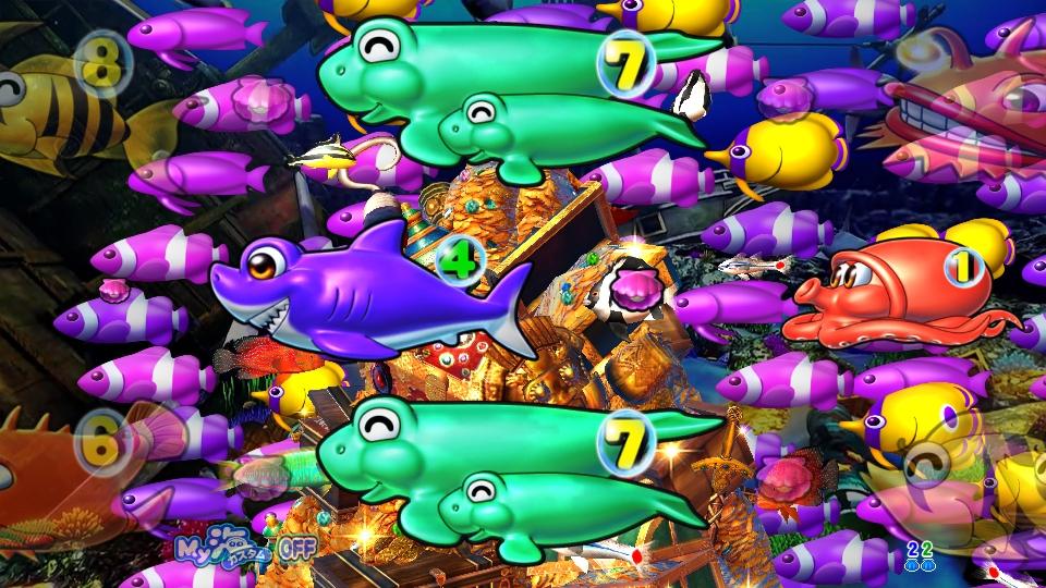 P大海物語4スペシャルBLACKのリーチ魚群画像