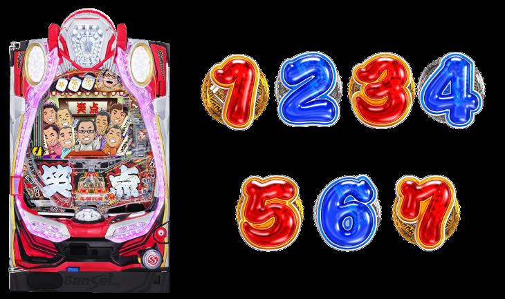 P笑点の筐体と図柄の画像