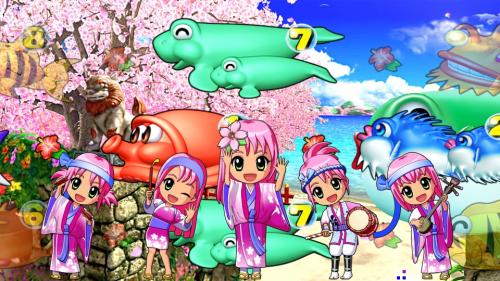 パチンコPスーパー海物語 IN 沖縄5 桜ver.199のミニキャラ5人の画像