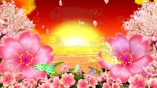 パチンコPスーパー海物語 IN 沖縄5 桜ver.319の夕方の画像