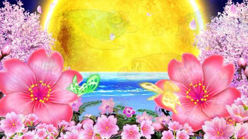 パチンコPスーパー海物語 IN 沖縄5 桜ver.319の満月の画像