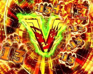 Pフィーバー戦姫絶唱シンフォギア2 1/77ver.のV入賞時のエフェクト色 緑
