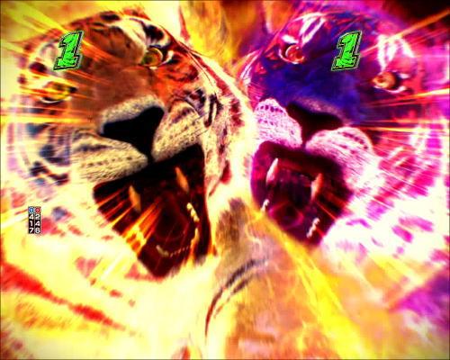 パチンコPフィーバータイガーマスクW Lightver.のタイガーW予告の画像