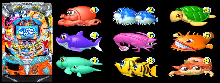 パチンコPA海物語3R2の筐体図柄画像