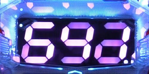 パチンコPワイルドロデオ6750だぜぇのピンクセグ色