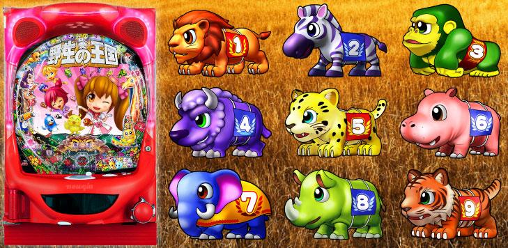 パチンコP野生の王国GO M2-Tの筐体図柄画像