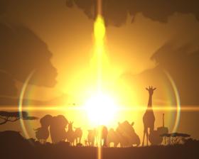 パチンコP野生の王国GO M-T YT800のサバンナの夜明け演出画像