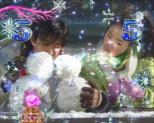 パチンコぱちんこ 冬のソナタ SWEET W HAPPY Versionの雪だるまリーチ