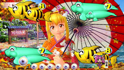 パチンコPAスーパー海物語 IN JAPAN2 金富士 99バージョンマリン和傘リーチの画像