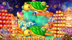 パチンコPAスーパー海物語 IN JAPAN2 金富士 99バージョン図柄神輿リーチの画像